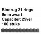 Bindrug Fellowes 21-rings 6mm zwart; doos 100st (capaciteit 25 vel)