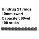 Bindrug Fellowes 21-rings 10mm wit; doos 100st (capaciteit 60 vel)