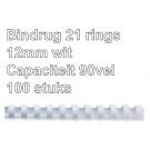 Bindrug Fellowes 21-rings 12mm wit; doos 100 st (capaciteit 90 vel)