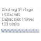 Bindrug Fellowes 14mm A4 wit; doos 100 stuks